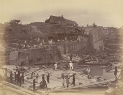 Looking westward from Dam through 80 feet entrance [Victoria Dock construction, Bombay].